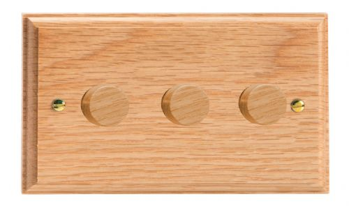 Varilight HK43O Kilnwood Oak 3 Gang 2-Way Push On/Off Dimmer 40-250W V-Dim